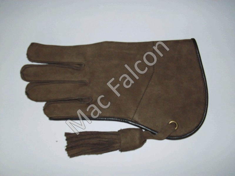 Nubuck leather falconry glove, brown, 1 layer and 25 cm long