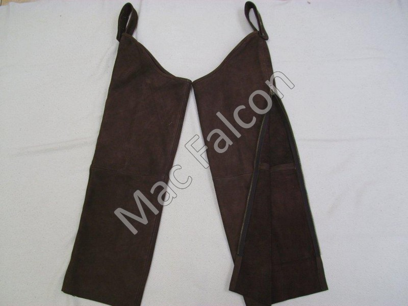 Leather falconry legchaps with zipper
