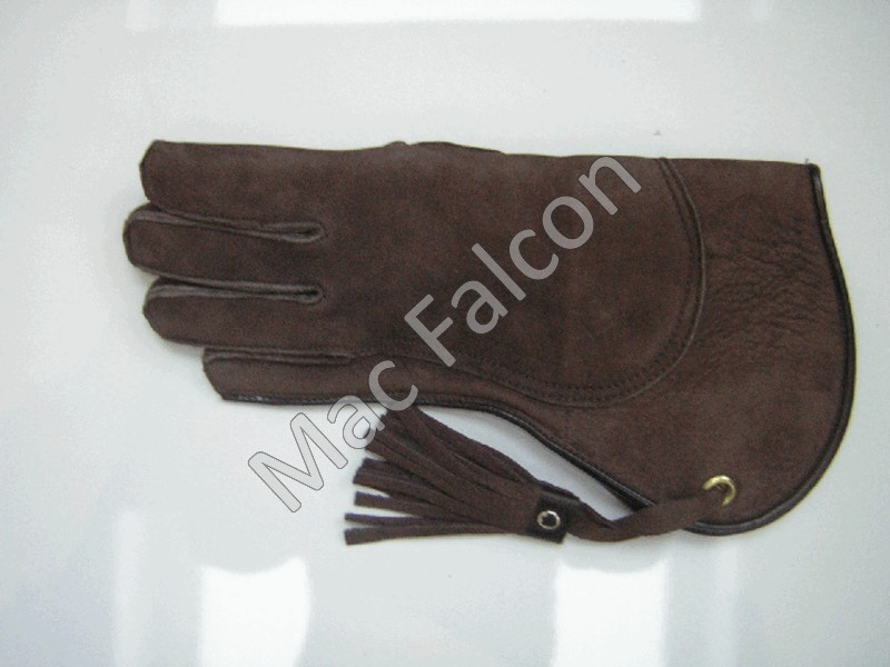 Nubuck leather falconry glove, brown, 2 layers and 30 cm long
