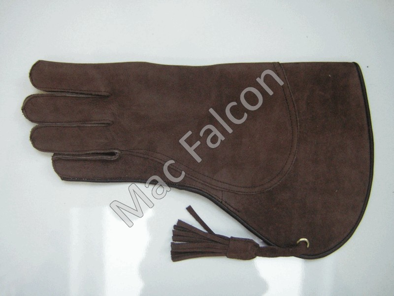 Nubuck leather falconry glove, brown, 2 layers and 35 cm long