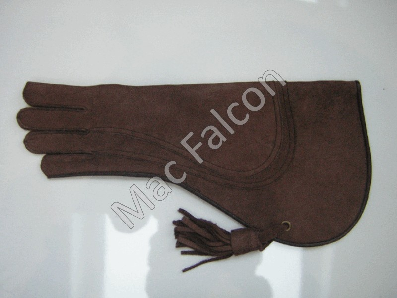 Nubuck leather falconry glove, brown, 3 layers and 40 cm long