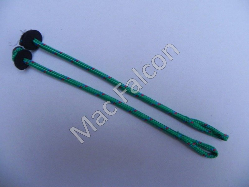 Falconry nylon paracord jesses green, 4 mm thick and 16 cm long