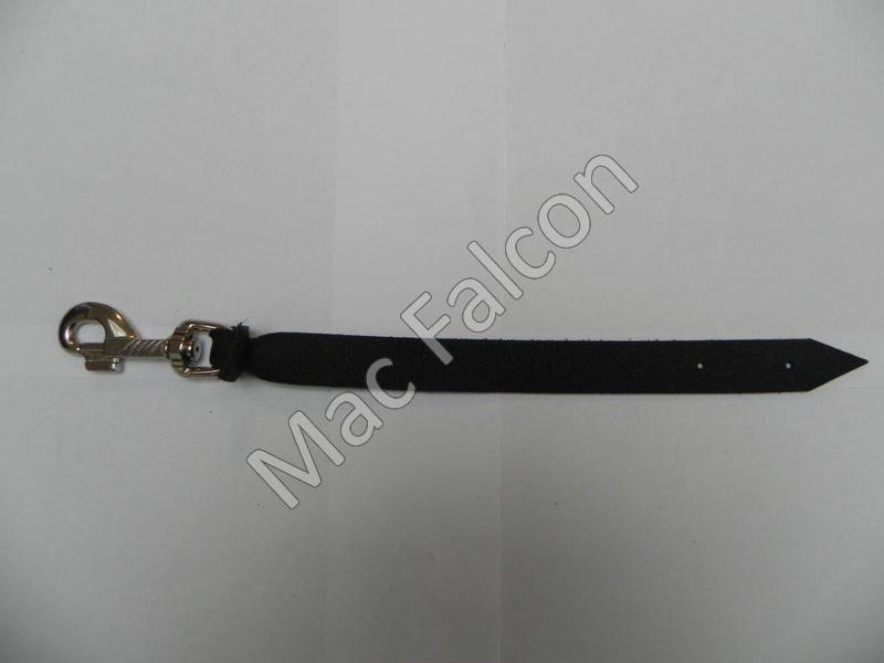 Safety large robust Steel nickel plated snap hook 80 mm long with leather belt - Number 5