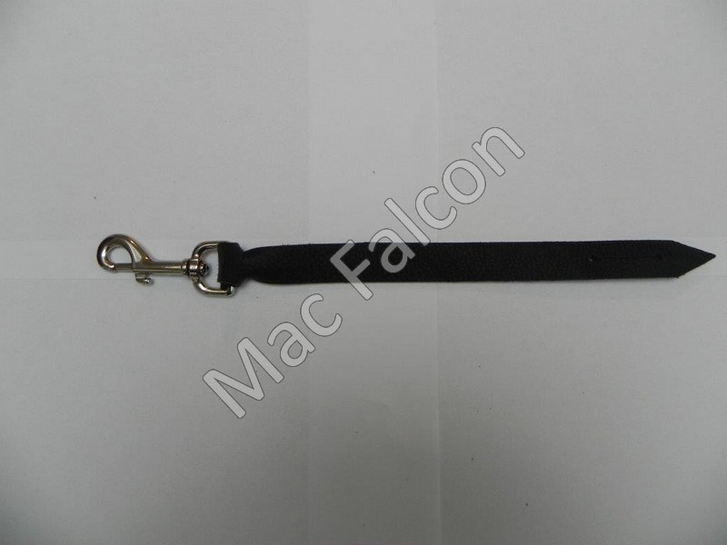 Robust Safety Steel nickel plated snap hook 77 mm long with leather belt - Number 6