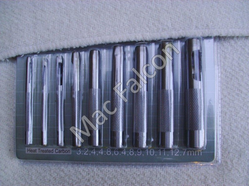 Set of punches, 3-12 mm, 9 pieces