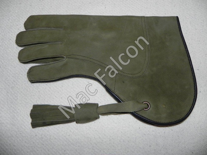 Deer leather falconry glove, green, 2 layers and 30 cm long