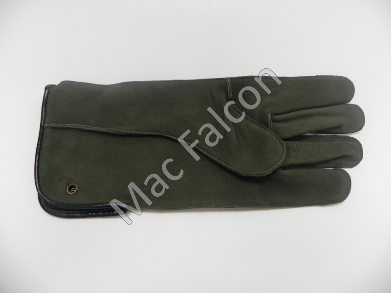 Mac Easy - Nubuck leather falconry glove, olive green, 1 layer and 30 cm long