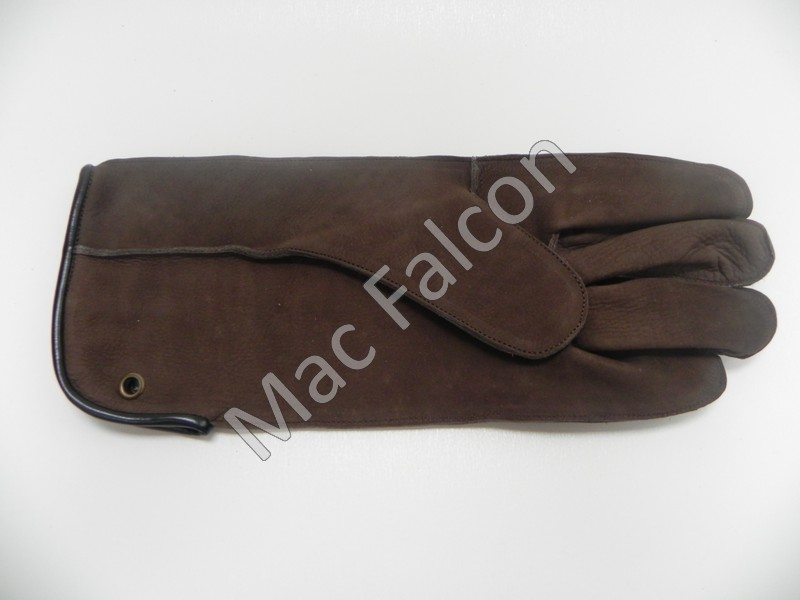 Mac Easy - Nubuck leather falconry glove, brown, 1 layer and 30 cm long