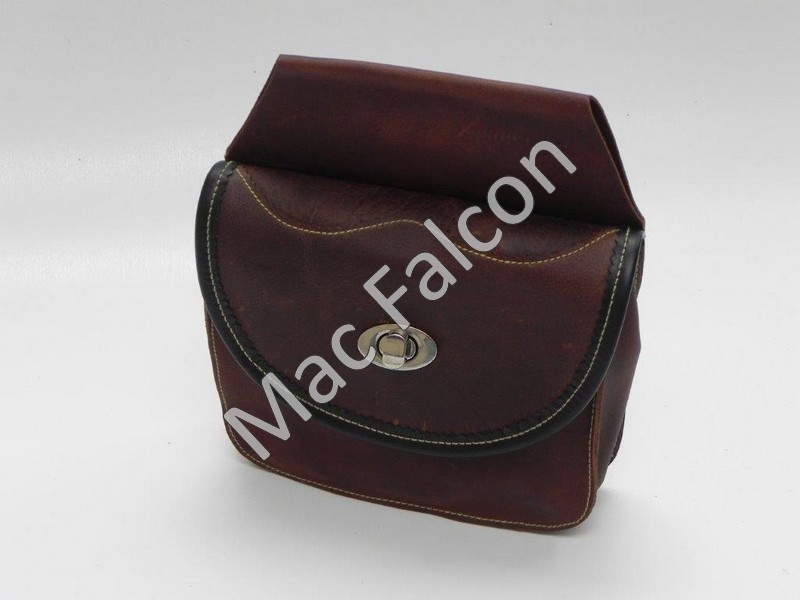 Nero 1, small falconry food belt bag, brown wax leather