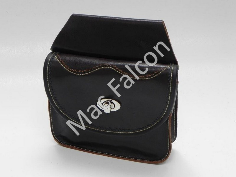 Nero 2, small falconry food belt bag, dark brown grain leather