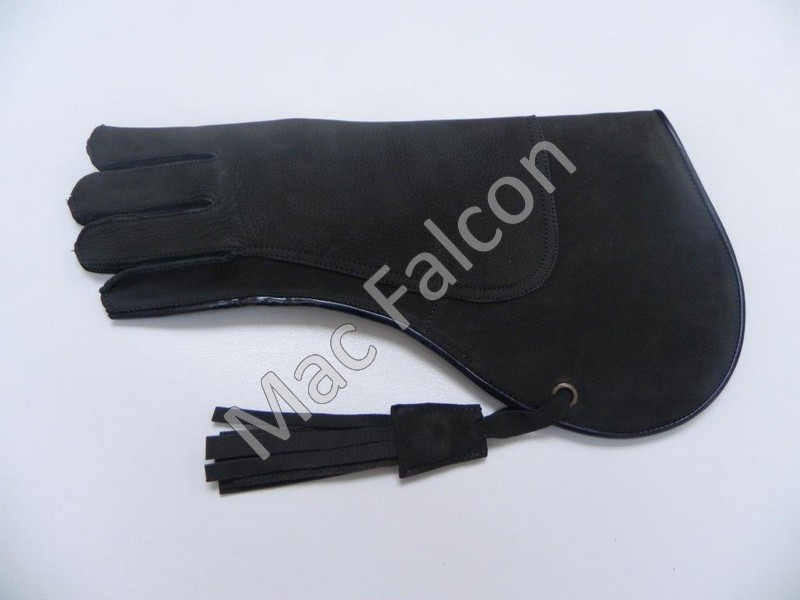 Dark olive green nubuck leather falconry glove, double layer and 35 cm long