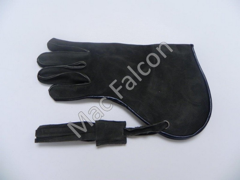 Dark olive green nubuck leather falconry glove, one layer and 25 cm long