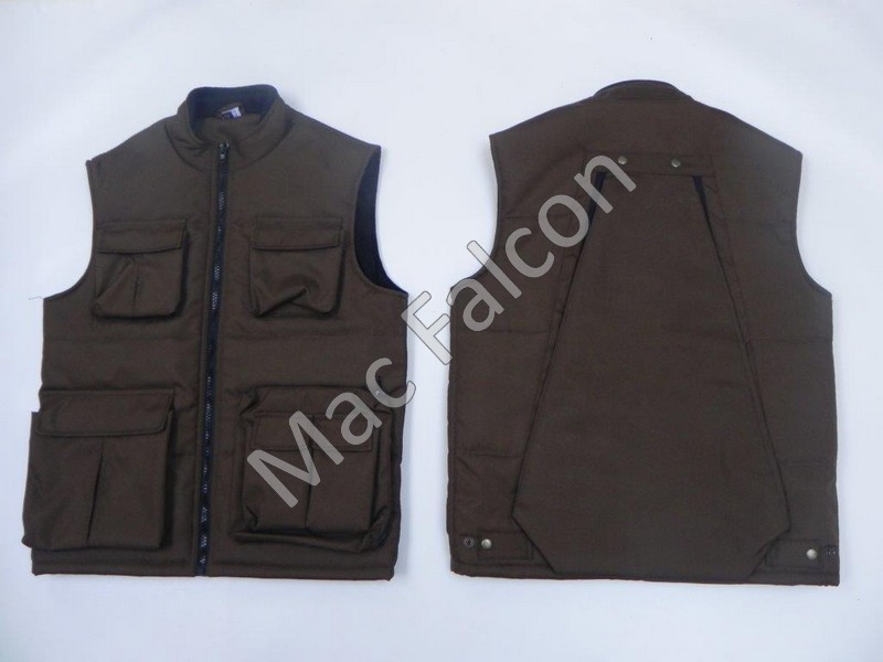 Nylon body warmer with fleece lining and large storage bag on the back - Brown