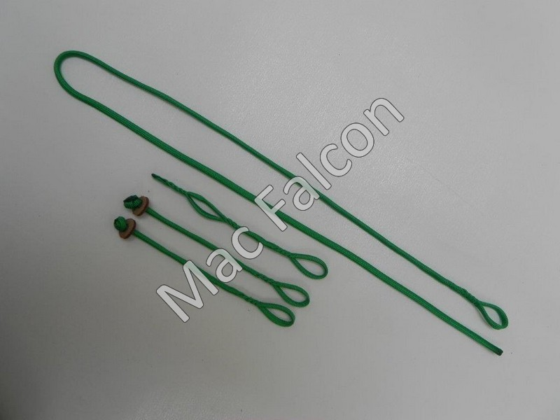 Complete Green Nylon Paracord tethering System, Jesses, Extender, leach with loop