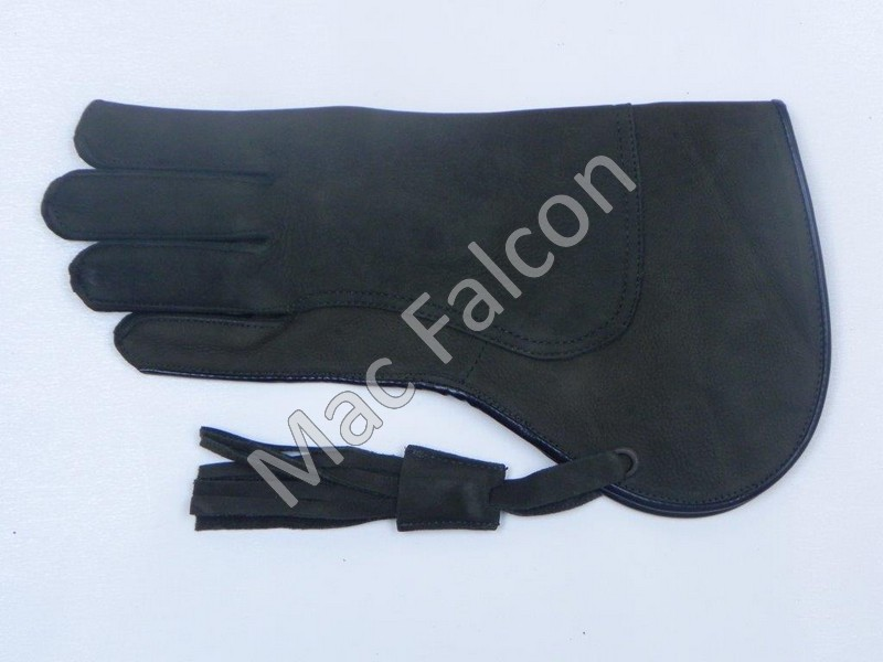 Dark olive green nubuck leather falconry glove, double layer and 30 cm long