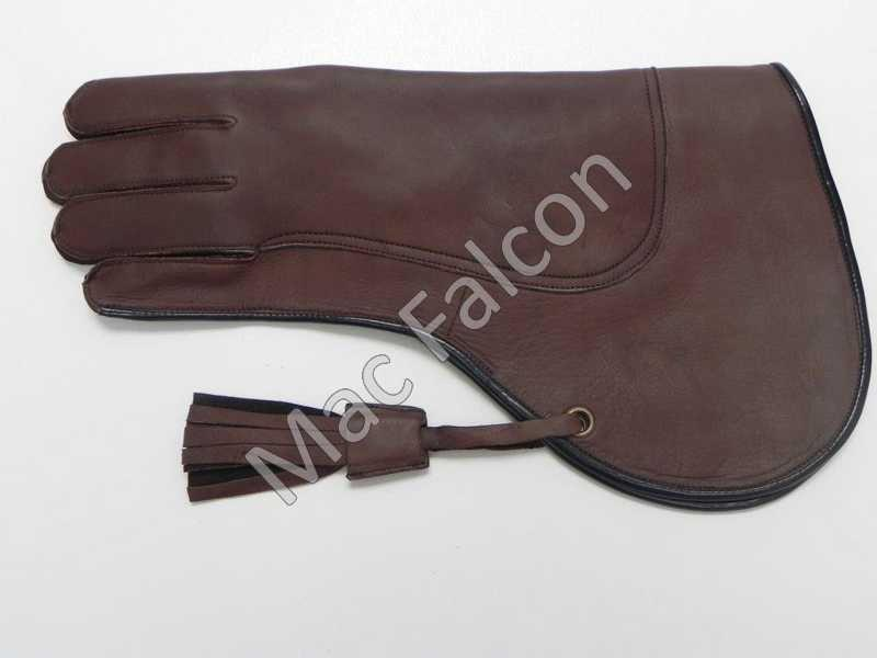 Mac Falcon, leather falconry glove, brown, double layers and 35 cm long