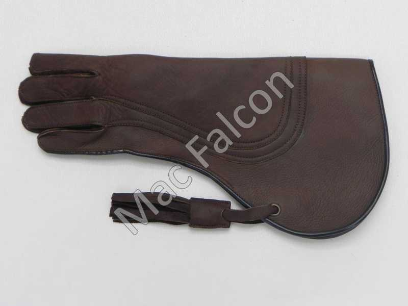 Mac Falcon, leather falconry glove, brown, triple layers and 38 cm long