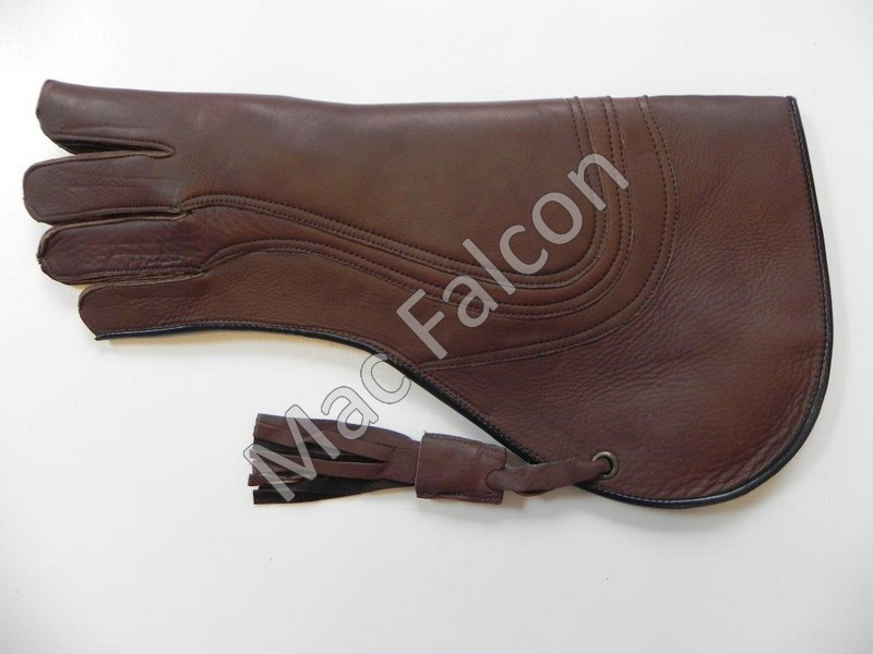 Mac Falcon, leather falconry glove, brown, 4 layers and 40 cm long