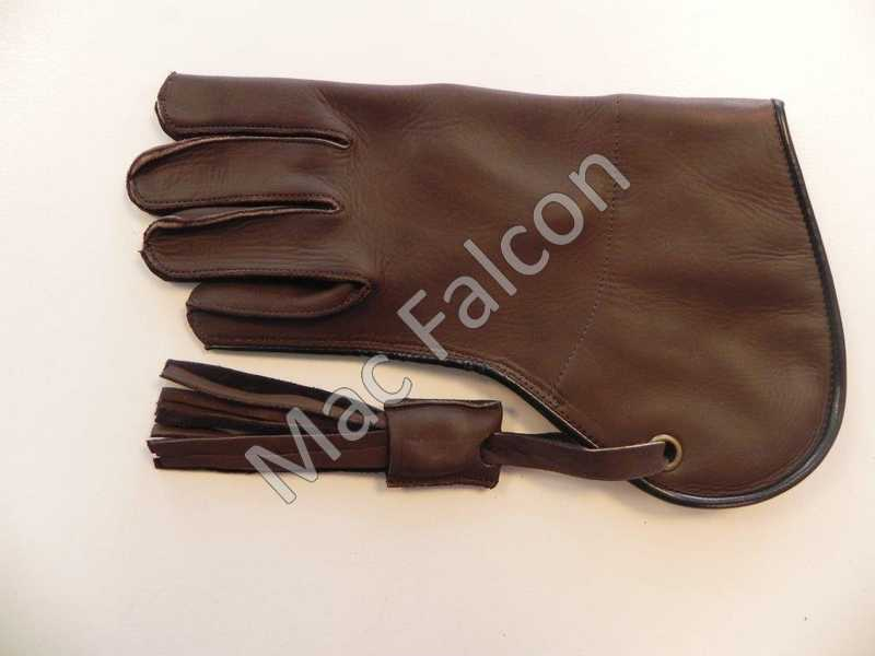 Mac Falcon, leather falconry glove, brown, single layer and 25 cm long