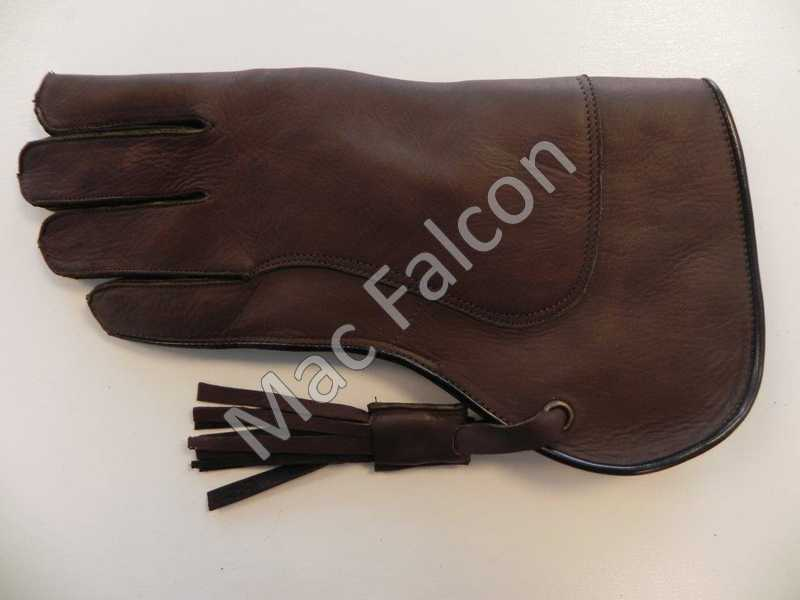 Mac Falcon, leather falconry glove, brown, double layers and 30 cm long