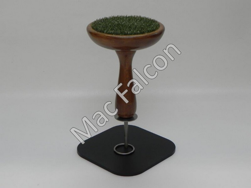 Mac Falcon - Large Indoor Dutch oak solid wooden falcon block with black steel base plate with stainless steel ring and pin.- Number 6
