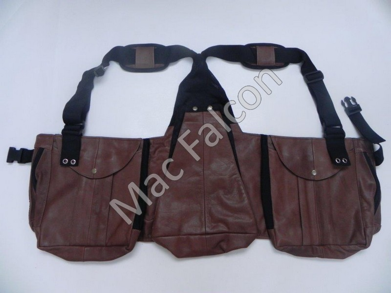 Mac Falcon, brown leather falconry hunting / dummy vest