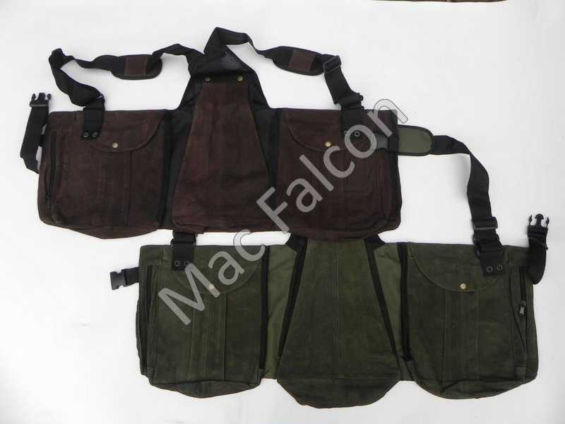 Nubuck leather falconry hunting vest