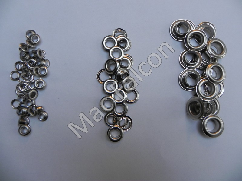 Grommets 5, 8 and 11 mm in the color silver